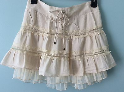Blue Asphalt, Ivory Lace and Layered Skirt-100% cotton-SZ Small, Elastic Back.