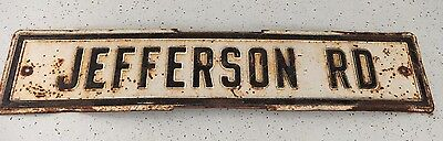 Vintage 1960's JEFFERSON RD Metal Road Street Sign Black and white