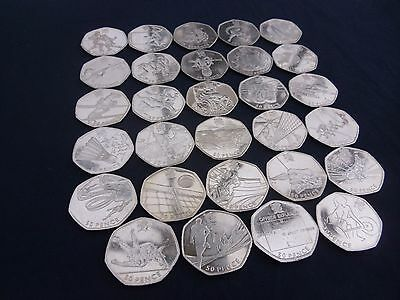 VGC Olympic 50p Coins, ALL available, also Full Sets, London 2012 (2011), hunt