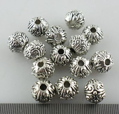 20pcs Tibetan Silver Charms Round Spacer Beads fit Bracelet Beading Making 5x6mm