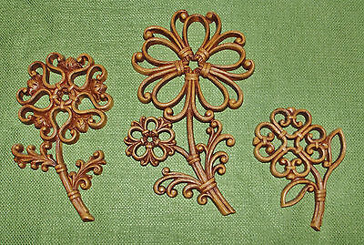 Vintage 1978 Syroco Homco Flowers Wall Hanging Set of 3 Scrolling Style  #7650