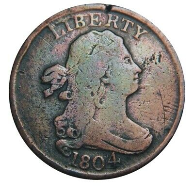 Half cent/penny 1804 rare plain 4 stemless collector coin