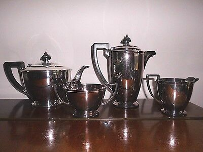 Mappin & Webb Art Deco silver plate tea and coffee set, 4 items, good condition