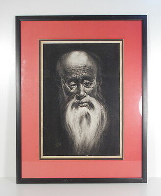 Antique Portrait Signed Painting Charcoal Engraving Chinese Asian Old Man