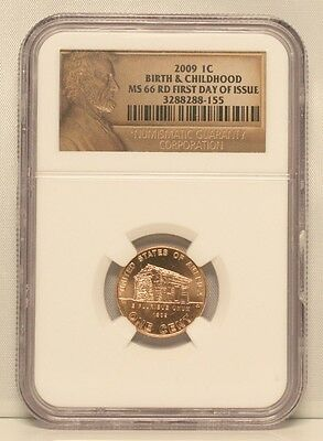 2009-P 1C Lincoln Cent Birth & Childhood NGC MS66 RD Red First Day of Issue