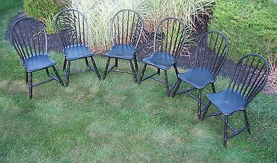 Final Listing. Rare Set 6 Black Hoop, Bow Back, American Windsor Chairs, Ca1800