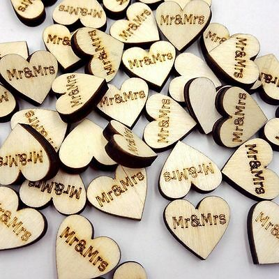 30 Rustic Mr.&Mrs.Wood Wooden Love Heart Wedding Table Scatter Decoration Craft