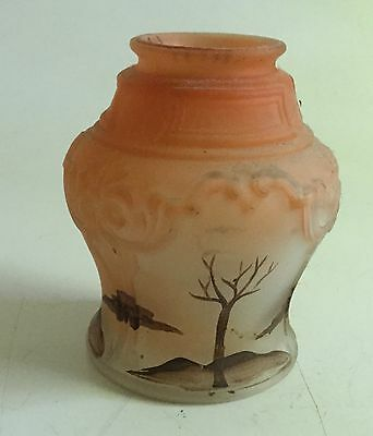 "Antique Hand Painted Glass Lamp Shade Trees 2 1/4"" Fitter"