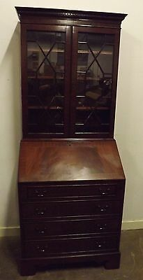 Antique Style Reproduction Mahogany Bureau Bookcase Desk Astral-Glazed