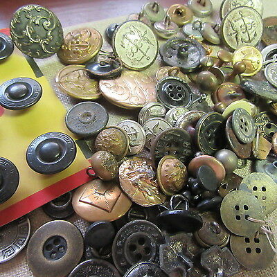 96 pc Lot VTG ANTIQUE Men's WORK Military BUTTONS JEWELRY Studs Sweet Orr +CARD
