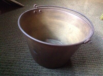 Old American Brass Kettle Brass Hearth Bucket Metal Pail Large with Makers Mark