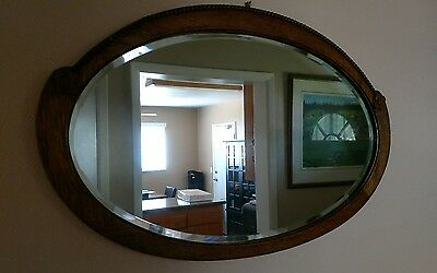 Antique Oak Framed Beveled Glass Oval Wall Mirror
