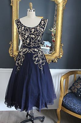 Vintage 50's Navy Blue Cocktail Dress with Ivory Detail Work