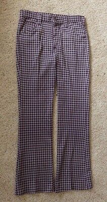 Lee Riders Vintage 70s Pants Mens Bell Bottom Houndstooth Checkered Disco Flare