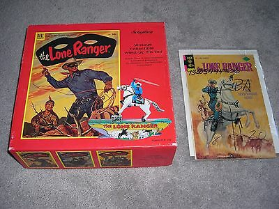 2 Lone Ranger Collectibles Wind-Up Tin Toy & 1975 Comic Book W/Authenticity