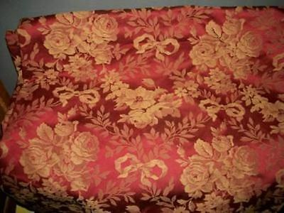 HOLLYWOOD REGENCY FRENCH BOW ROSES DAMASK BROCADE UPHOLSTERY FABRIC VINTAGE 8yds