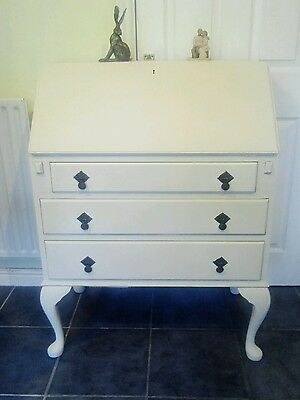 """Bureau/writing Desk-Painted Vintage In Annie Sloan """"old Ochre"""" And """"chateau Grey"""