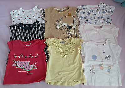 8 Girls Summer Tshirts Size 6-9 mths Debenhams, TU and Next