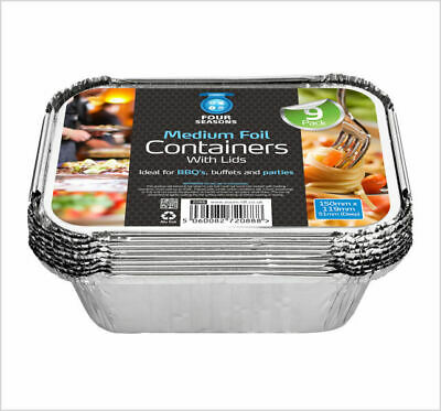 4 x 9 Pack Medium Aluminium Foil Hot Food Takeaway Storage Containers with Lids