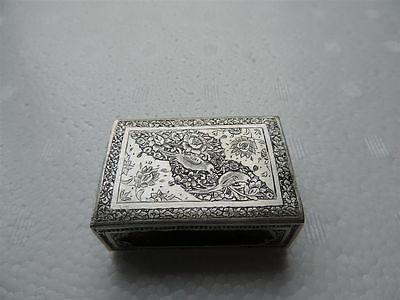 Rare Ultra Fine Antique Solid Silver Persian Islamic Qajar Match Box Holder
