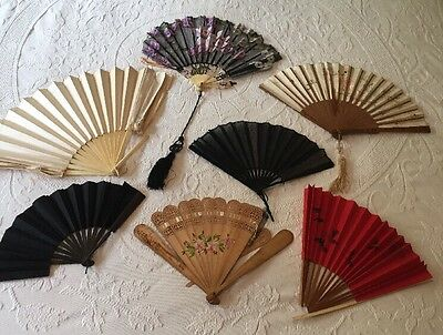 Lot Of 7 Antique Hand Fans Satin Silk Painted Carved All Need Repair Vary Sizes
