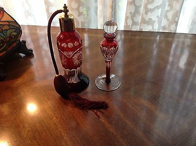 Set of Ruby Red Cut To Clear Perfume Bottles