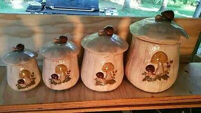 Vintage Ceramic Mushroom Canisters Set of Four Hand Painted Very NIce 1970's