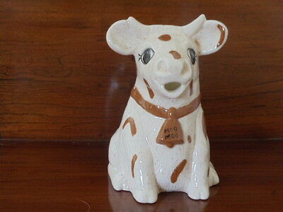 Beige Speckled & Spotted Cow Creamer / Pitcher Moo Moo on Brown Bell