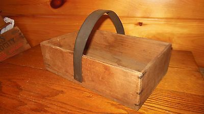 Vintage Wooden Primitive Tool Box / Carry Tote / Old Farm Tool