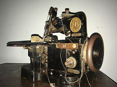 Rare Antique Commercial Heavy Duty Leather Singer 3 thread Serger Sewing Machine