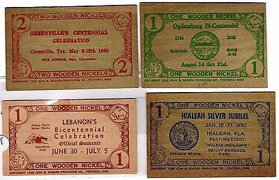 official Flat Wooden Nickels Money book for $27 states PA FL TX NY 1940, 48, 50