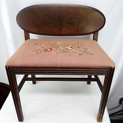 Antique Floral Needlepoint Sewing Foyer Bedroom Stool Piano Bench Chair Low Back