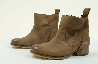Ecote Womens Leather Pull On Ankle Booties Boots Brown Tan 6 New In Box