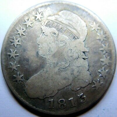 Capped bust half dollar 1813 Overton 107a heavy die cracks