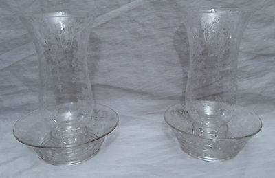 Pair of Cambridge Glass 2 Piece Hurricane Lamps Rose Point Candle Holder