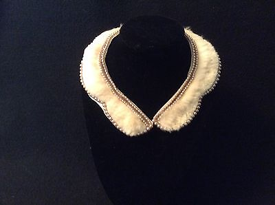 1940's Vintage Hand Beaded Glass Pearl Satin Lined Collar with Fur