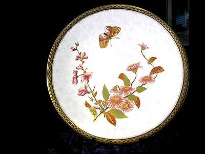 Antique English Cabinet Plate (C) Hand Painted Butterfly Royal Worcester  1885