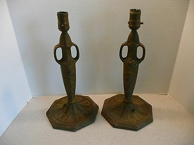Antique Pittsburgh PLB&G Co #2209 Cast Iron Table Lamp Bases - matching pair