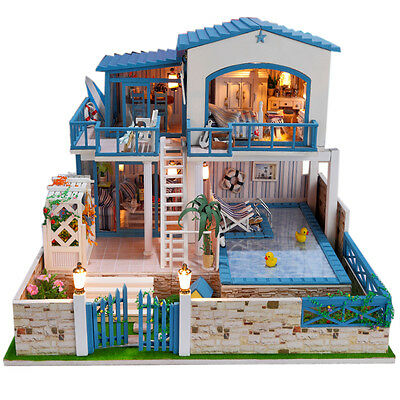 DIY Wooden Dollshouse Miniature Kit w/ Lights - House with Pool