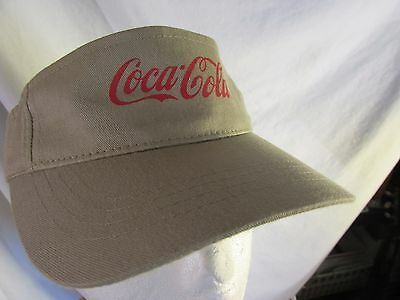 Khaki Tan Coke Visor with Red Coca-Cola Never Used  Mens Womans Fishing Golf Etc