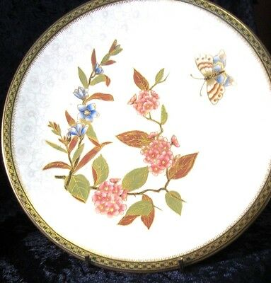 Antique English Cabinet Plate (B) Hand Painted Butterfly Royal Worcester  1885