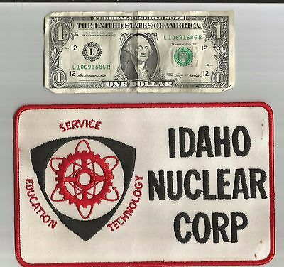 RARE!!! 1960's IDAHO ID NUCLEAR CORP CORPORATION PATCH HUGE 8 1/4 INCHES TWILL