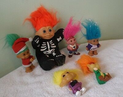 Troll Dolls Lot of 6 .Including Halloween Skeleton Troll, Santa, 2 Burger King