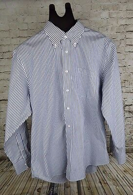 Nordstrom Men's Long Sleeve Wrinkle-Free Shirt Size 16 1/2 32 blue/white Striped