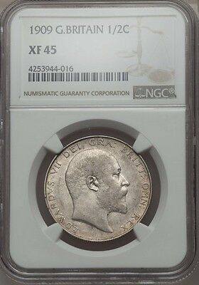 Great Britain Edward Vii 1909 Half-Crown Silver Coin, Certified Ngc Xf-45