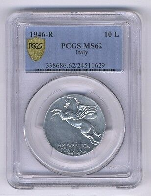 Italy Republic 1946-R 10 Lire Coin, Choice Uncirculated Pcgs Certified Ms62 Rare