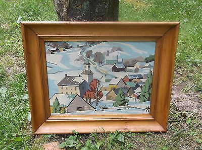Vintage Paint By Numbers Winter Townscape Oil On Canvas/mystery Artist