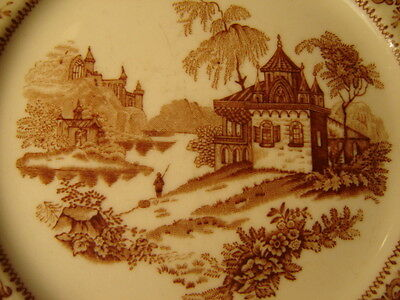 """Vintage Syracuse China Brown Asian Style Pattern Plate 7 1/4"""""""