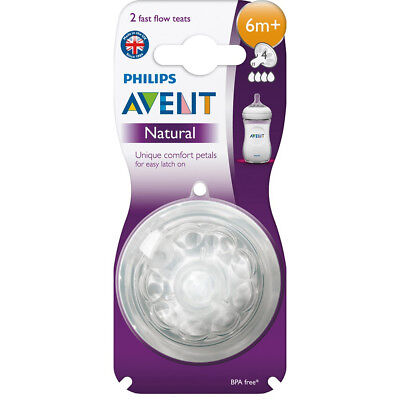 NEW Philips Avent Natural Teat 6M+ Fast (2pk)