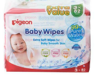 NEW Pigeon Baby Water Wipes 3in1 3 x 82's